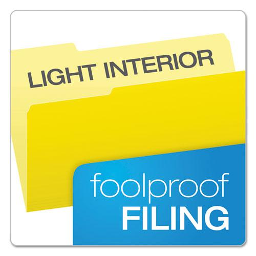 Colored File Folders, 1/3-Cut Tabs, Legal Size, Yellowith Light Yellow, 100/Box. Picture 3