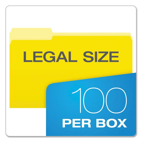 Colored File Folders, 1/3-Cut Tabs, Legal Size, Yellowith Light Yellow, 100/Box. Picture 5