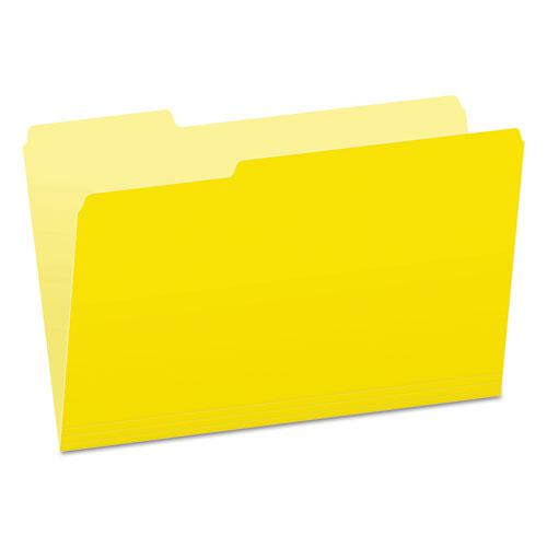 Colored File Folders, 1/3-Cut Tabs, Legal Size, Yellowith Light Yellow, 100/Box. Picture 1