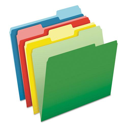 CutLess File Folders, 1/3-Cut Tabs, Letter Size, Assorted, 100/Box. Picture 1