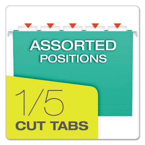 Colored Hanging Folders, Letter Size, 1/5-Cut Tab, Aqua, 25/Box. Picture 4