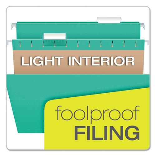 Colored Hanging Folders, Letter Size, 1/5-Cut Tab, Aqua, 25/Box. Picture 7