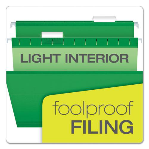 Colored Reinforced Hanging Folders, Legal Size, 1/5-Cut Tab, Bright Green, 25/Box. Picture 7