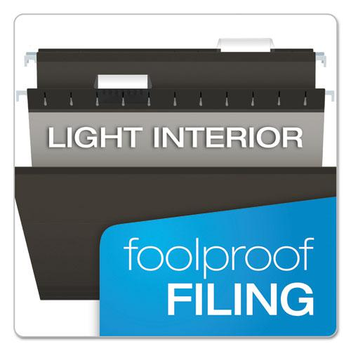 Colored Reinforced Hanging Folders, Legal Size, 1/5-Cut Tab, Black, 25/Box. Picture 7