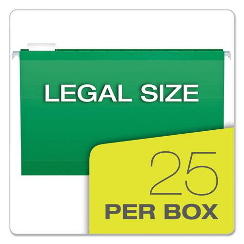 Colored Reinforced Hanging Folders, Legal Size, 1/5-Cut Tab, Bright Green, 25/Box. Picture 5