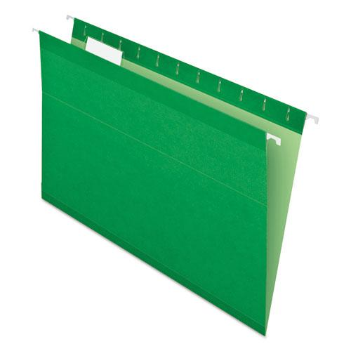 Colored Reinforced Hanging Folders, Legal Size, 1/5-Cut Tab, Bright Green, 25/Box. Picture 1