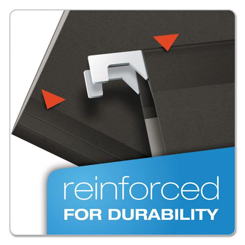 Colored Reinforced Hanging Folders, Legal Size, 1/5-Cut Tab, Black, 25/Box. Picture 2