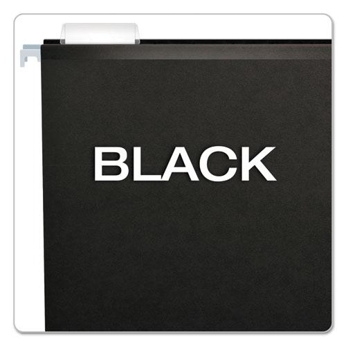 Colored Reinforced Hanging Folders, Legal Size, 1/5-Cut Tab, Black, 25/Box. Picture 3