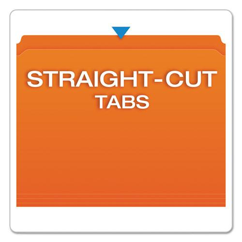 Double-Ply Reinforced Top Tab Colored File Folders, Straight Tab, Letter Size, Orange, 100/Box. Picture 3