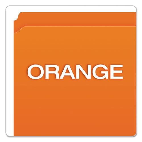 Double-Ply Reinforced Top Tab Colored File Folders, Straight Tab, Letter Size, Orange, 100/Box. Picture 4