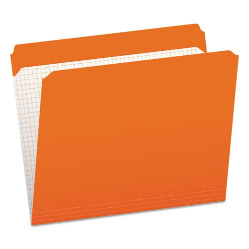 Double-Ply Reinforced Top Tab Colored File Folders, Straight Tab, Letter Size, Orange, 100/Box. Picture 1