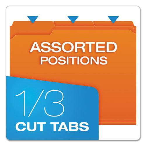 Double-Ply Reinforced Top Tab Colored File Folders, 1/3-Cut Tabs, Letter Size, Orange, 100/Box. Picture 3