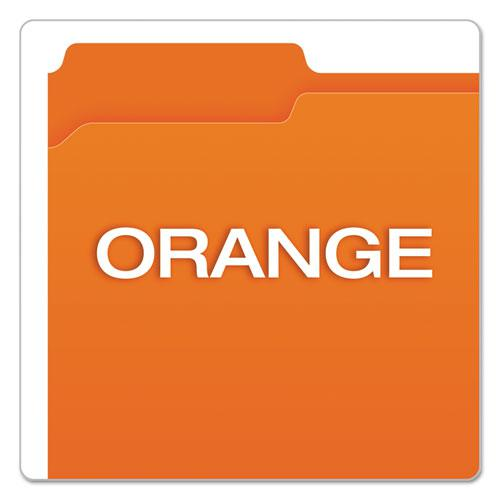 Double-Ply Reinforced Top Tab Colored File Folders, 1/3-Cut Tabs, Letter Size, Orange, 100/Box. Picture 4