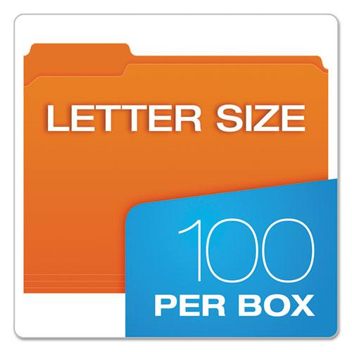 Double-Ply Reinforced Top Tab Colored File Folders, 1/3-Cut Tabs, Letter Size, Orange, 100/Box. Picture 6
