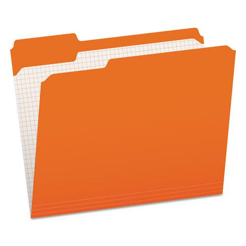Double-Ply Reinforced Top Tab Colored File Folders, 1/3-Cut Tabs, Letter Size, Orange, 100/Box. Picture 1