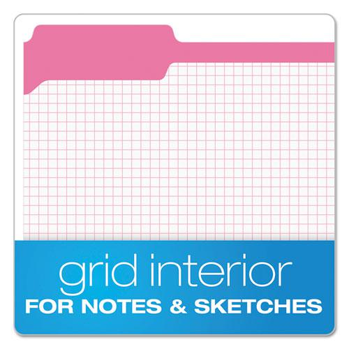 Double-Ply Reinforced Top Tab Colored File Folders, 1/3-Cut Tabs, Letter Size, Pink, 100/Box. Picture 2
