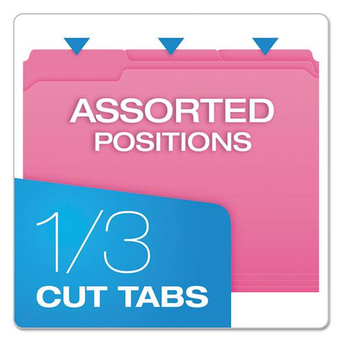 Double-Ply Reinforced Top Tab Colored File Folders, 1/3-Cut Tabs, Letter Size, Pink, 100/Box. Picture 3