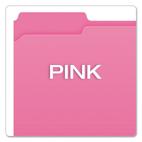 Double-Ply Reinforced Top Tab Colored File Folders, 1/3-Cut Tabs, Letter Size, Pink, 100/Box. Picture 4