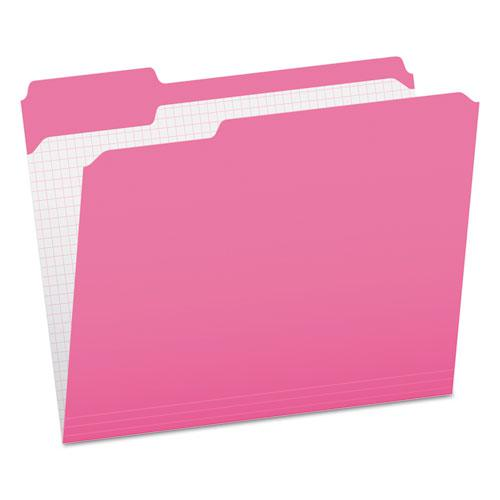 Double-Ply Reinforced Top Tab Colored File Folders, 1/3-Cut Tabs, Letter Size, Pink, 100/Box. Picture 1