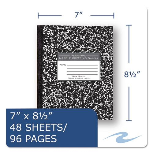 Marble Cover Composition Book, Wide/Legal Rule, Black Cover, 8.5 x 7, 48 Sheets. Picture 2