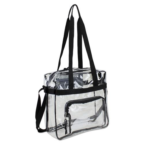 Clear Stadium Approved Tote, 12 x 5 x 12, Black/Clear
