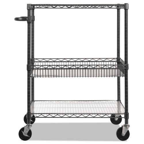 Three-Tier Wire Cart with Basket, 34w x 18d x 40h, Black Anthracite. Picture 2