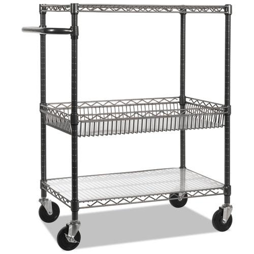 Three-Tier Wire Cart with Basket, 34w x 18d x 40h, Black Anthracite. Picture 3