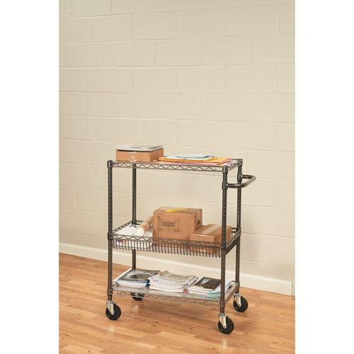 Three-Tier Wire Cart with Basket, 34w x 18d x 40h, Black Anthracite. Picture 4