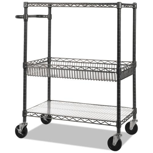 Three-Tier Wire Cart with Basket, 34w x 18d x 40h, Black Anthracite. Picture 1