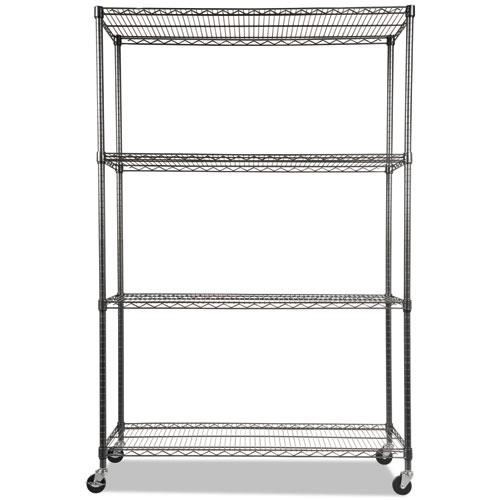 NSF Certified 4-Shelf Wire Shelving Kit with Casters, 48w x 18d x 72h, Black Anthracite. Picture 2