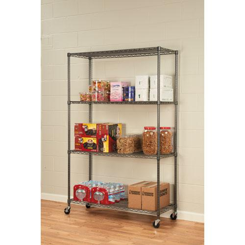 NSF Certified 4-Shelf Wire Shelving Kit with Casters, 48w x 18d x 72h, Black Anthracite. Picture 4