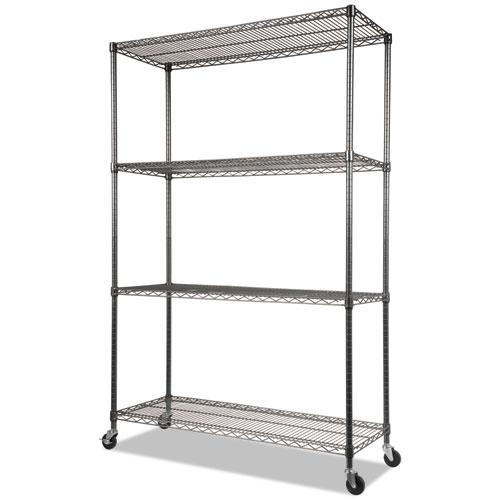 NSF Certified 4-Shelf Wire Shelving Kit with Casters, 48w x 18d x 72h, Black Anthracite. Picture 1