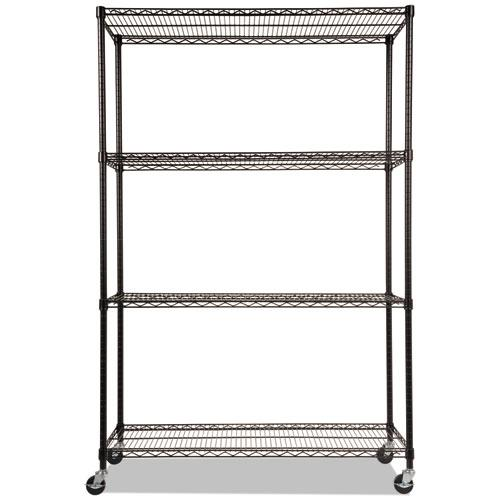 NSF Certified 4-Shelf Wire Shelving Kit with Casters, 48w x 18d x 72h, Black. Picture 2