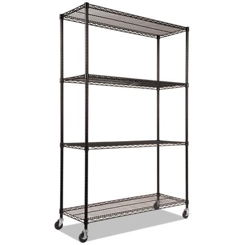 NSF Certified 4-Shelf Wire Shelving Kit with Casters, 48w x 18d x 72h, Black. Picture 3