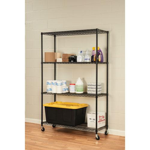 NSF Certified 4-Shelf Wire Shelving Kit with Casters, 48w x 18d x 72h, Black. Picture 4