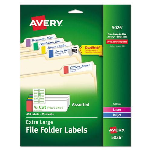 Extra-Large TrueBlock File Folder Labels with Sure Feed Technology, 0.94 x 3.44, White, 18/Sheet, 25 Sheets/Pack. Picture 1