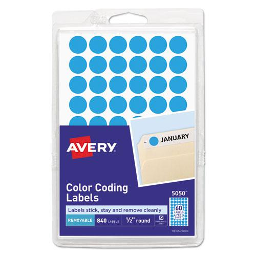 """Handwrite Only Self-Adhesive Removable Round Color-Coding Labels, 0.5"""" dia., Light Blue, 60/Sheet, 14 Sheets/Pack, (5050). Picture 1"""