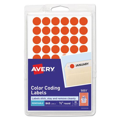 """Handwrite Only Self-Adhesive Removable Round Color-Coding Labels, 0.5"""" dia., Neon Red, 60/Sheet, 14 Sheets/Pack, (5051). Picture 1"""