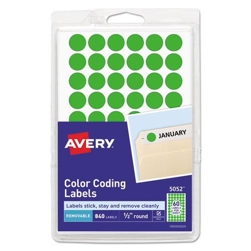 "Handwrite Only Self-Adhesive Removable Round Color-Coding Labels, 0.5"" dia., Neon Green, 60/Sheet, 14 Sheets/Pack, (5052). Picture 1"