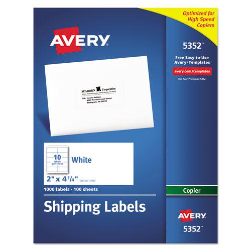 Copier Mailing Labels, Copiers, 2 x 4.25, White, 10/Sheet, 100 Sheets/Box. Picture 1