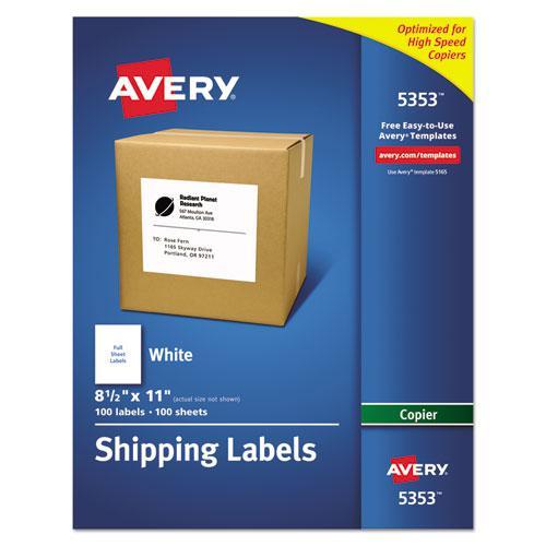 Copier Mailing Labels, Copiers, 8.5 x 11, White, 100/Box. Picture 1