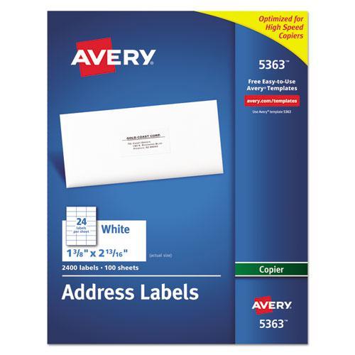Copier Mailing Labels, Copiers, 1.38 x 2.81, White, 24/Sheet, 100 Sheets/Box. Picture 1
