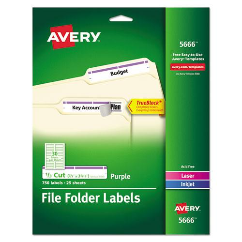 Permanent TrueBlock File Folder Labels with Sure Feed Technology, 0.66 x 3.44, White, 30/Sheet, 25 Sheets/Pack. Picture 1