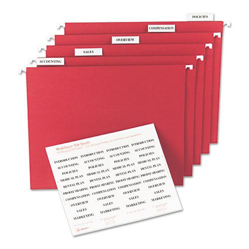 """Tabs Inserts For Hanging File Folders, 1/5-Cut Tabs, White, 2"""" Wide, 100/Pack. Picture 2"""