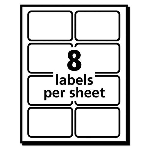 EcoFriendly Adhesive Name Badge Labels, 3.38 x 2.33, White, 400/Box. Picture 3