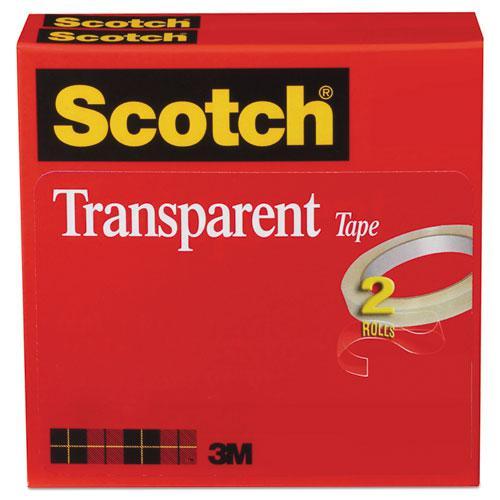 "Transparent Tape, 3"" Core, 0.5"" x 72 yds, Transparent, 2/Pack. Picture 1"