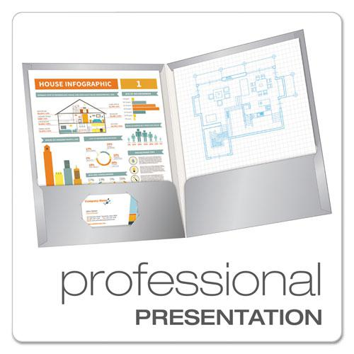 High Gloss Laminated Paperboard Folder, 100-Sheet Capacity, Gray, 25/Box. Picture 2