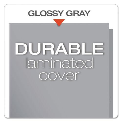 High Gloss Laminated Paperboard Folder, 100-Sheet Capacity, Gray, 25/Box. Picture 4
