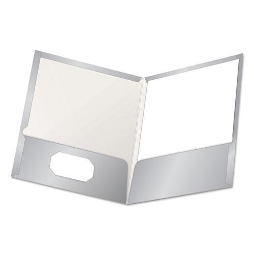 High Gloss Laminated Paperboard Folder, 100-Sheet Capacity, Gray, 25/Box. Picture 1
