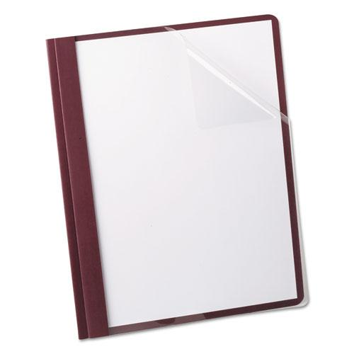 Linen Finish Clear Front Report Cover, 3 Fasteners, Letter, Burgundy, 25/Box. Picture 1